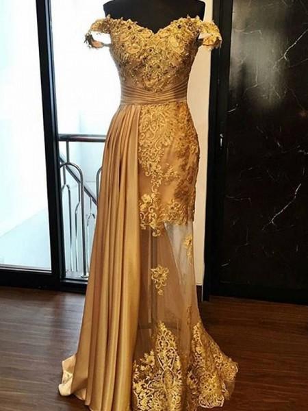 Sheath/Column Sleeveless Off-the-Shoulder Sweep/Brush Train Applique Tulle Dresses