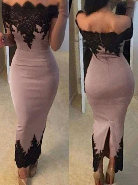Sheath/Column Long Sleeves Off-the-Shoulder Ankle-Length Applique Satin Dresses