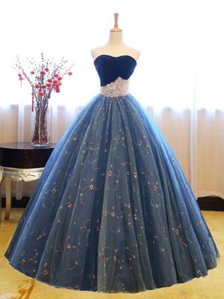 Ball Gown Sleeveless Sweetheart Floor-Length Beading Net Dresses