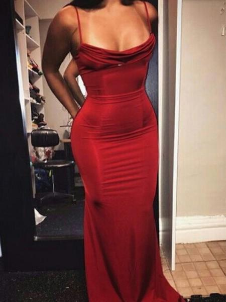 Sheath/Column Sleeveless Spaghetti Straps Floor-Length Ruffles Spandex Dresses