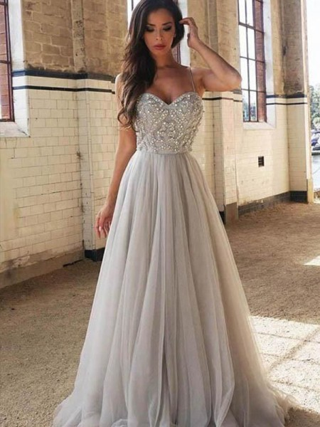 A-Line/Princess Sleeveless Spaghetti Straps Sweep/Brush Train Tulle Beading Dresses