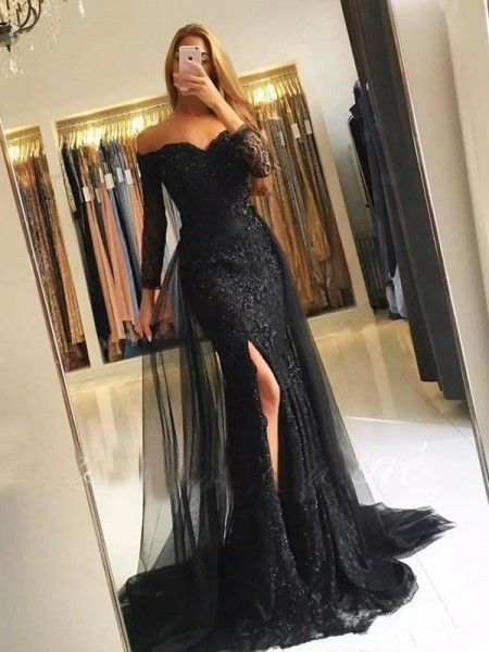 Trumpet/Mermaid Long Sleeves Off-the-Shoulder Sweep/Brush Train Tulle Lace Dresses