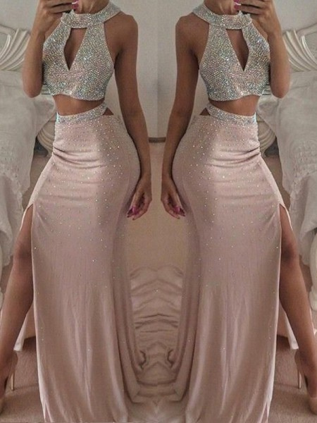 Trumpet/Mermaid Sleeveless Halter Floor-Length Beading Chiffon Two Piece Dresses