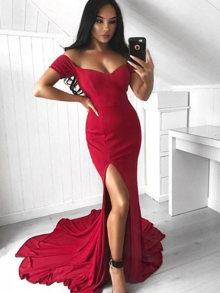 Trumpet/Mermaid Sleeveless Off-the-Shoulder Court Train Ruffles Elastic Woven Satin Dresses