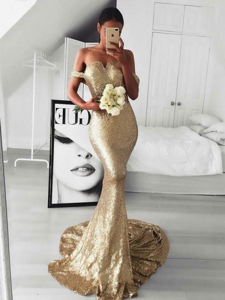 Trumpet/Mermaid Sleeveless Off-the-Shoulder Sweep/Brush Train Ruffles Sequins Dresses