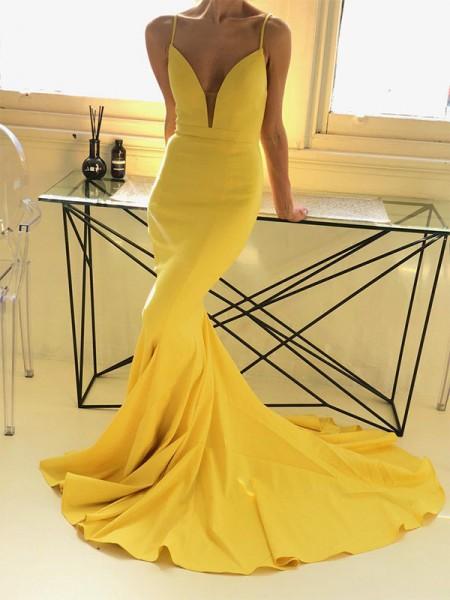 Trumpet/Mermaid Sleeveless Spaghetti Straps Sweep/Brush Train Ruffles Satin Dresses