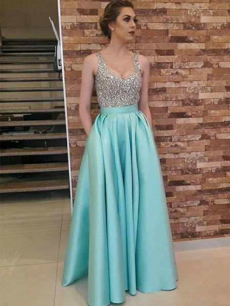 A-Line/Princess Sleeveless V-neck Floor-Length Beading Satin Dresses