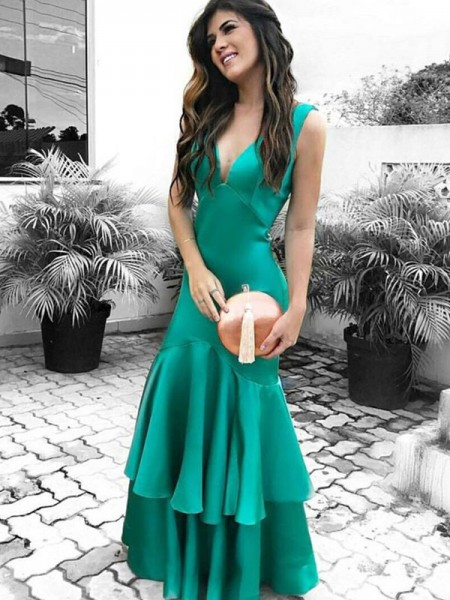 Sheath/Column Sleeveless V-neck Floor-Length Ruffles Satin Dresses