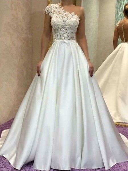 A-Line/Princess One-Shoulder Sleeveless Sweep/Brush Train Lace Satin Wedding Dresses