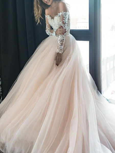 A-Line/Princess Off-the-Shoulder Long Sleeves Court Train Applique Tulle Wedding Dresses