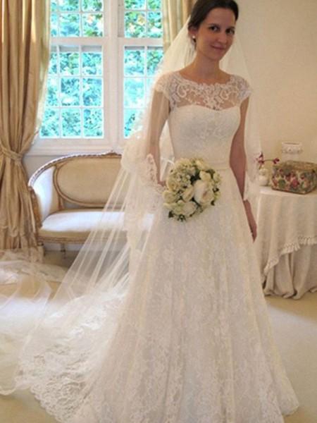 A-Line/Princess Scoop Sleeveless Sweep/Brush Train Lace Satin Wedding Dresses