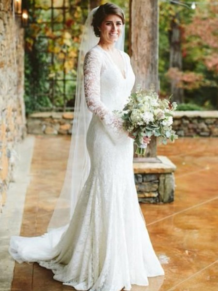 Trumpet/Mermaid V-neck Long Sleeves Sweep/Brush Train Ruffles Lace Wedding Dresses