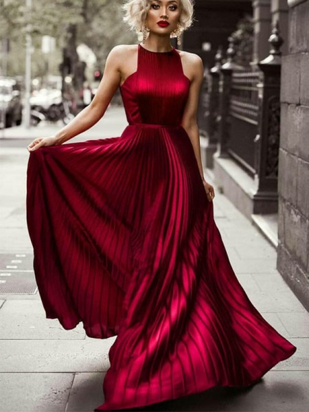 A-Line/Princess Halter Sleeveless Floor-Length Ruched Silk like Satin Dresses