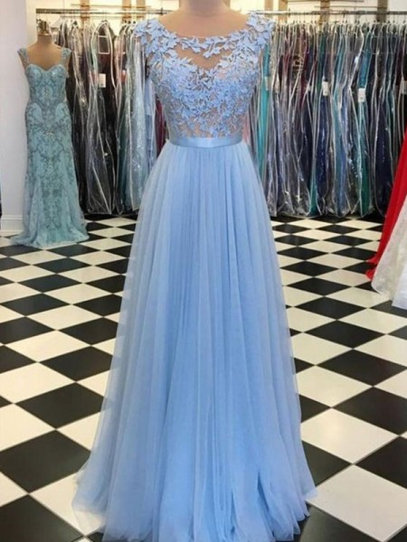 A-Line/Princess Scoop Sleeveless Floor-Length Applique Tulle Dresses