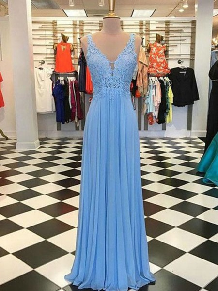 A-Line/Princess Spaghetti Straps Sleeveless Floor-Length Applique Chiffon Dresses