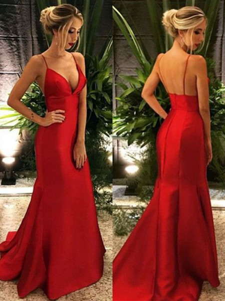 Trumpet/Mermaid Spaghetti Straps Sleeveless Sweep/Brush Train Ruffles Satin Dresses