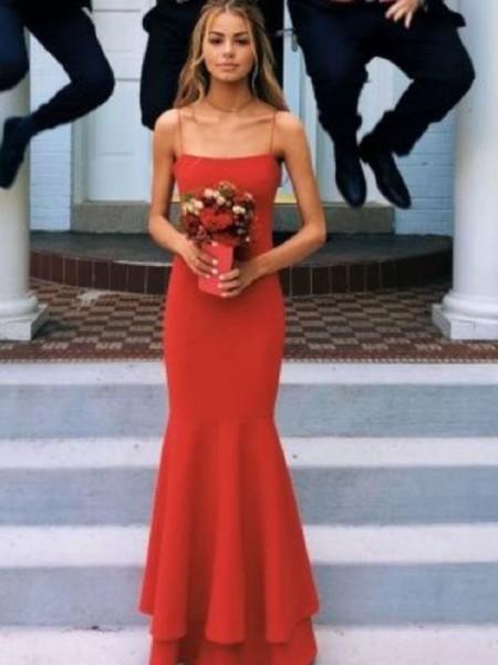 Sheath/Column Spaghetti Straps Sleeveless Floor-Length Layers Satin Dresses