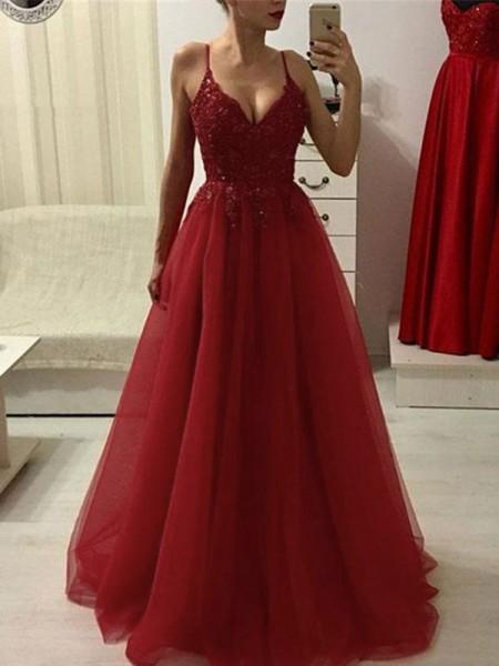 A-Line/Princess Spaghetti Straps Sleeveless Floor-Length Applique Tulle Dresses