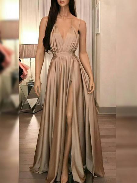 A-Line/Princess Silk like Satin Ruffles Spaghetti Straps Sleeveless Floor-Length Dresses