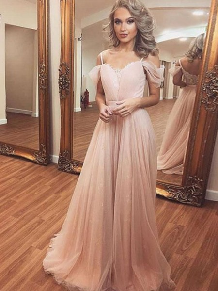 A-Line/Princess Tulle Ruched Off-the-Shoulder Sleeveless Sweep/Brush Train Dresses