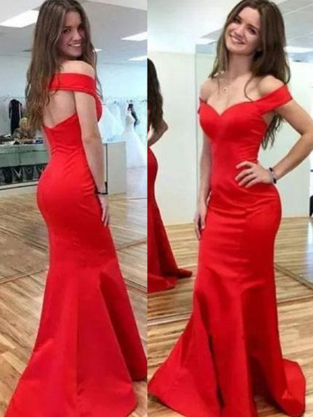 Trumpet/Mermaid Sleeveless Off-the-Shoulder Floor-Length Satin Dresses