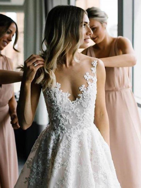 A-Line/Princess Lace V-neck Applique Sleeveless Sweep/Brush Train Wedding Dresses
