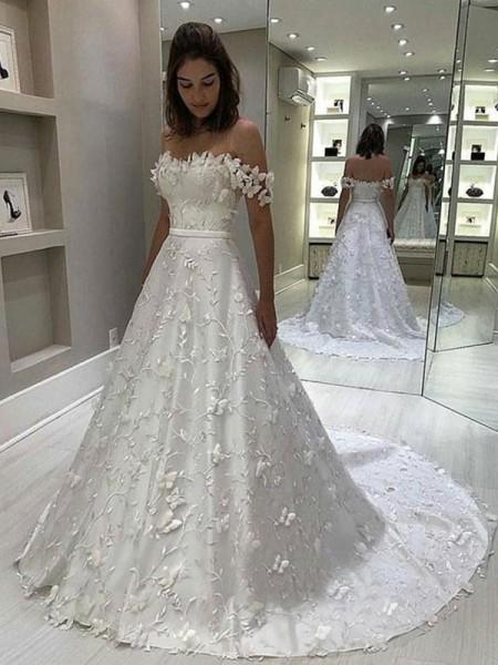 A-Line/Princess Satin Off-the-Shoulder Applique Sleeveless Sweep/Brush Train Wedding Dresses
