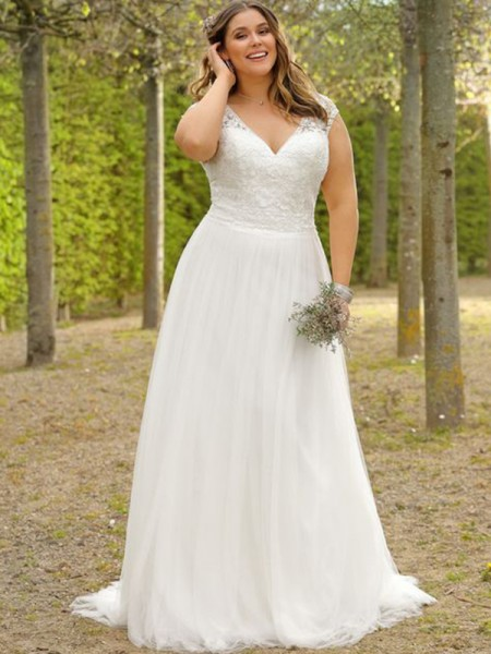 A-Line/Princess Short Sleeves Tulle Applique V-neck Floor-Length Plus Size Wedding Dresses