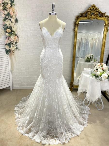 Trumpet/Mermaid V-neck Sleeveless Lace Applique Sweep/Brush Train Wedding Dresses