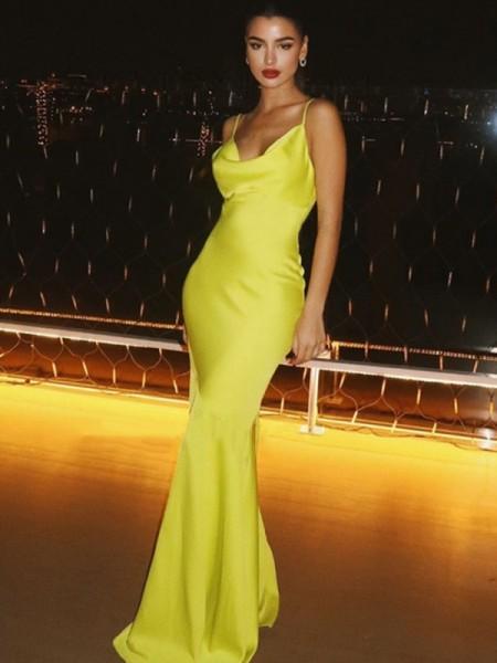 Sheath/Column Spaghetti Straps Ruched Sleeveless Satin Floor-Length Dresses
