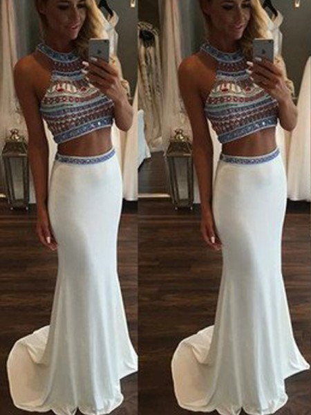 Trumpet/Mermaid Sleeveless Halter Beading Sweep/Brush Train Chiffon Two Piece Dresses