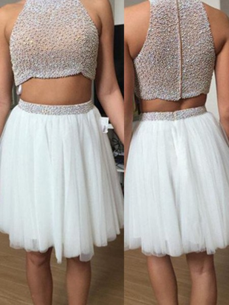 A-Line/Princess Sleeveless High Neck Tulle Beading Short/Mini Two Piece Dresses