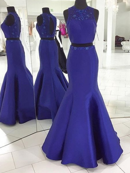 Trumpet/Mermaid Sleeveless Scoop Floor-Length Beading Satin Two Piece Dresses