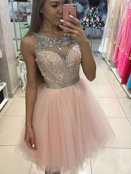 A-Line/Princess Sleeveless Scoop Beading Short/Mini Tulle Dresses