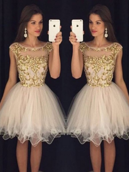 A-Line/Princess Sleeveless Scoop Paillette Tulle Short/Mini Dresses