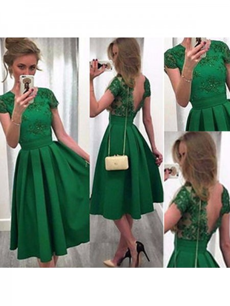A-Line/Princess Short Sleeves Scoop Lace Satin Short/Mini Dresses