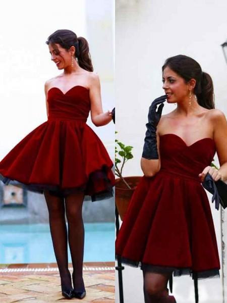A-Line/Princess Sleeveless Sweetheart Satin Short/Mini Dresses