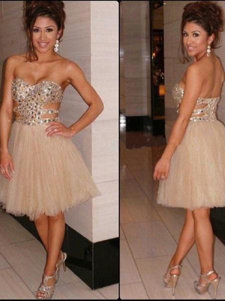 A-Line/Princess Sleeveless Sweetheart Sequin Tulle Short/Mini Dresses
