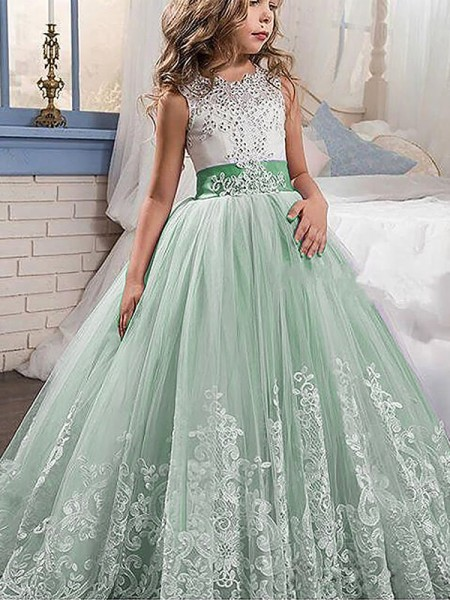 Ball Gown Jewel Sleeveless Lace Sweep Train Tulle Flower Girl Dresses