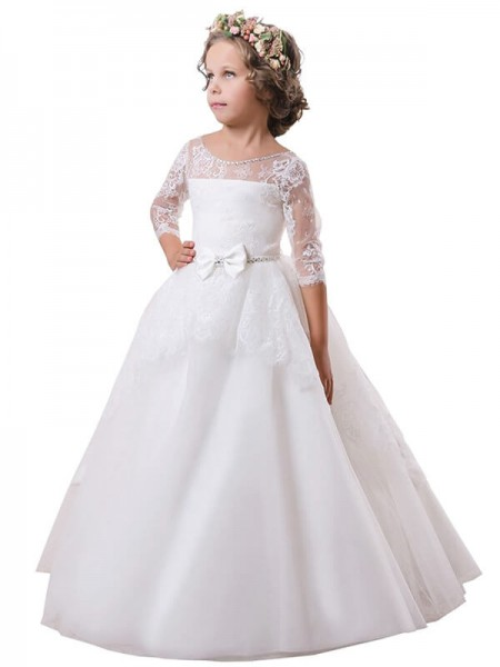 Ball Gown Jewel Long Sleeves Lace Sweep Train Satin Flower Girl Dresses