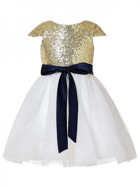 A-Line/Princess Short Sleeves Jewel Sequins Tulle Tea-Length Flower Girl Dresses