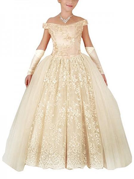 Ball Gown Off-the-Shoulder Sleeveless Applique Floor-Length Tulle Flower Girl Dresses