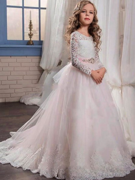 Ball Gown Jewel Long Sleeves Lace Sweep Train Tulle Flower Girl Dresses
