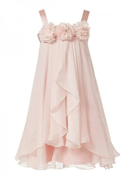 A-Line/Princess Sleeveless Straps Hand-Made Flower Chiffon Ankle-Length Flower Girl Dresses