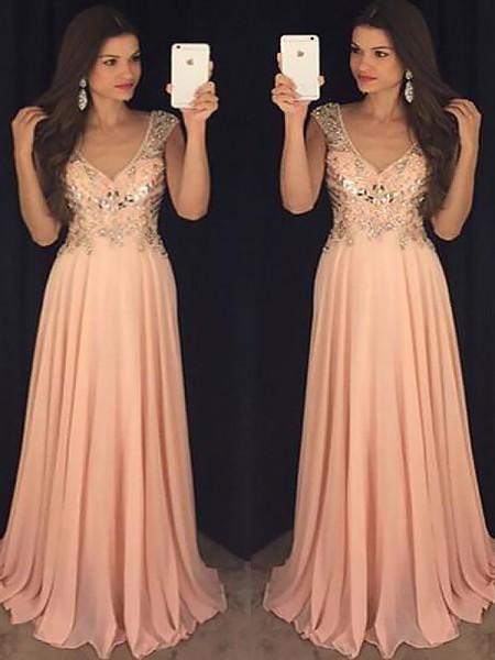 A-Line/Princess Sleeveless V-neck Chiffon Paillette Floor-Length Dresses