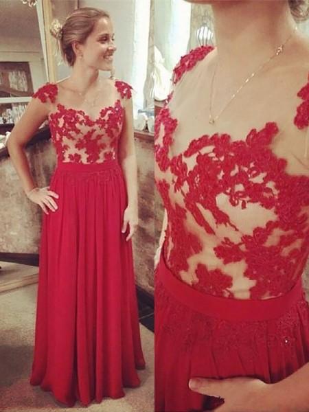 A-Line/Princess Sleeveless V-neck Chiffon Lace Floor-Length Dresses