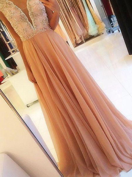 A-Line/Princess Sleeveless V-neck Chiffon Beading Sweep Train Dresses