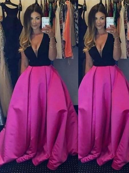 Ball Gown Sleeveless V-neck Ruffles Floor-Length Satin Dresses