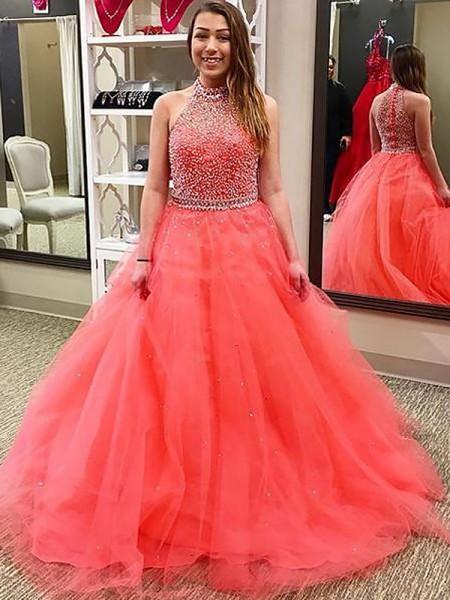 Ball Gown Sleeveless Halter Beading Floor-Length Tulle Dresses