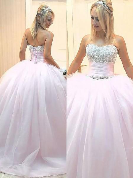Ball Gown Sleeveless Sweetheart Beading Floor-Length Tulle Dresses